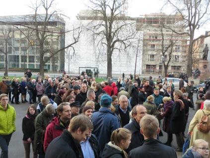 Crowd lining up